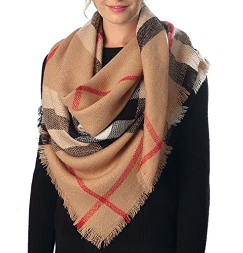 Women's Warm Oversized Checked Tartan Blanket Scarf Wrap Shawl With (Scarf Bronze)