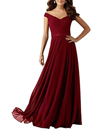Leader of the Beauty Womens A Line Off Shoulder Evening Dress Long Chiffon Formal Prom Dress