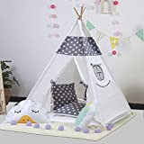Touch-Rich 6FT Durable Teepee for Kids, Indian Play Tent, Sturdy & Safe Kids' Furniture with Window & Floor, Including Style Matching Accessories &Two Pillowcase (Grey Stars)