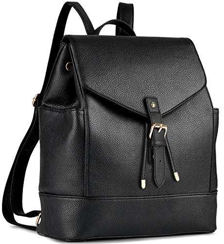 Leather Backpack, COOFIT Black PU Leather Backpack Schoolbag Casual Daypack for Women (Drawstring Backpack Leather)