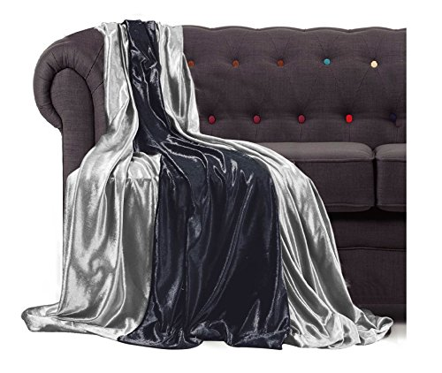 BLACK, 200 cm X 140 cm Throwover bedspread Shiny Crushed Velvet New Sofa or bed Throw or Cushion Cover