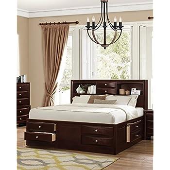 Amazon.com: Roundhill Furniture Ankara Wood Storage Bed, Queen ...