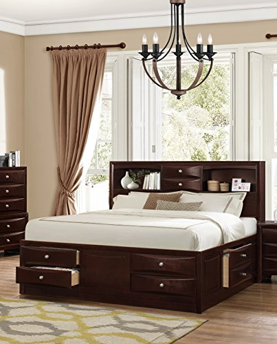 Roundhill Furniture Ankara Wood Storage Bed, Queen, Espresso