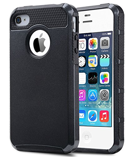 4S Case,iPhone 4S Case, iPhone 4 Case,ULAK Dual Layer Hybrid Slim Hard Case for Apple iPhone 4S & iPhone 4 with Hard PC Cover and Soft Inner TPU (Black) (4 Color Cover Case)