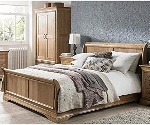 French Solid Oak 6 Super King Size Sleigh Bed Amazon Co Uk