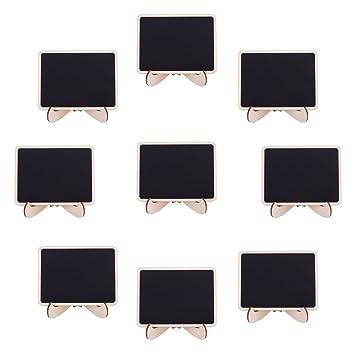 FANTESI 20pcs Mini Pizarras, Pizarras madera con Soporte Tablero Número de MFAesa Tabla Señales de Tablero Signos de Mensajes para Boda (Style 1)