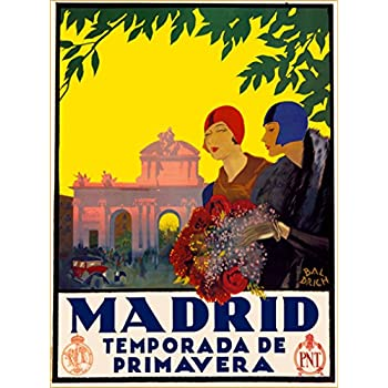 A SLICE IN TIME Madrid Temporada De Primavera Spain Spanish Vintage Travel Advertisement Art Wall Decor Poster Print. 10 x 13.5 inches
