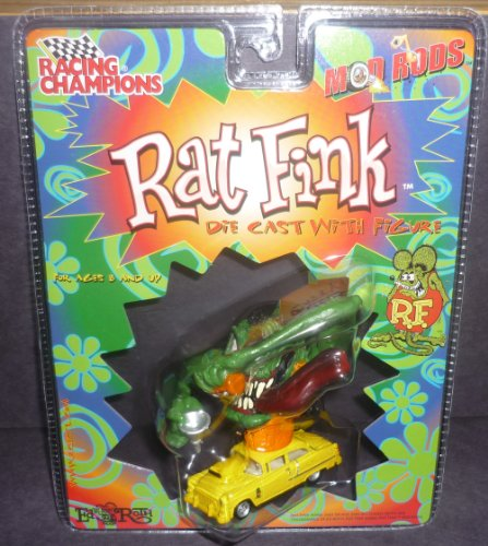 (Racing Champions Green Rat Fink Character Mod Rods Diecast with Figure)