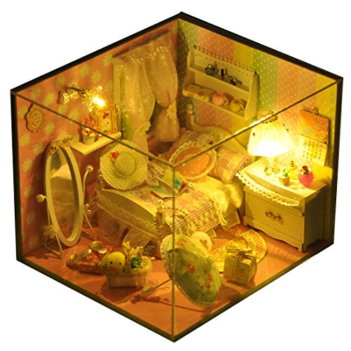 A-SZCXTOP DIY Wood Dollhouse Miniature House Room Model with Furniture Kit and LED Light