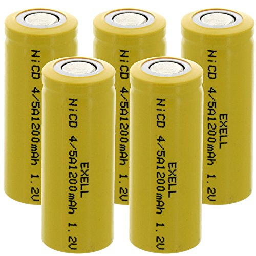 5x Exell 4/5A 1.2V 1200mAh NiCD Flat Top Rechargeable Batteries for mobile phones, pagers, medical instruments/equipment, electric tools and toys, electric razors, toothbrushes, meters, radios