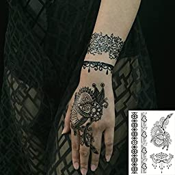 070FC 6-Sheet Black Henna Tattoos Temporary Classic Mandala Lace Tattoos Stickers Inspired Body Paints for Women (Black)