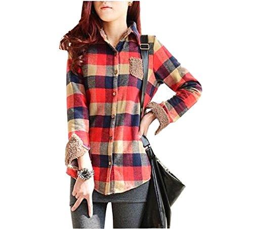 [Cinyifan Womens' Winter Long Sleeve Wool Fleece Lined Plaid Shirt] (Geeky School Girl Fancy Dress)