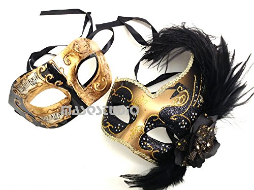Couples Black Gold Masquerade Ball Mask Pair Feather Mardi Gras Party Valentines Gift for Her (Music Notes Black Gold) by MasqStudio