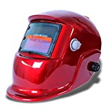 SODIAL(R) Welding mask Welding helmet Solar energy automatic (solar energy use for refill) Facial protection accessories red