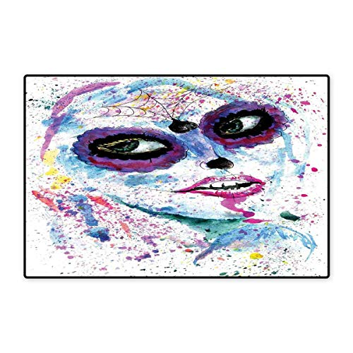 Girls Door Mat Indoors Grunge Halloween Lady with Sugar Skull Make Up Creepy Dead Face Gothic Woman Artsy Floor Mat Pattern 32