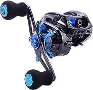 Sougayilang Baitcasting Fishing Reel 7.0:1 Gear - Low Profile Carbon Fiber Drag 9+1 Bearing Dual Magnetic Brak