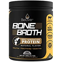 Bone Broth Protein Powder Supplement for Women and Men | Designed for Joint Pain Relief with Glucosamine Chondroitin, Weight Loss, Digestive System, Younger Hair & Skin | 100% Natural Flavored (1LB)