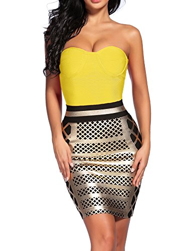 Strapless Bandage - Madam Uniq iFashion Women's Sexy Strapless Rayon Bodycon Party Bandage Mini Dress Yellow Gold M