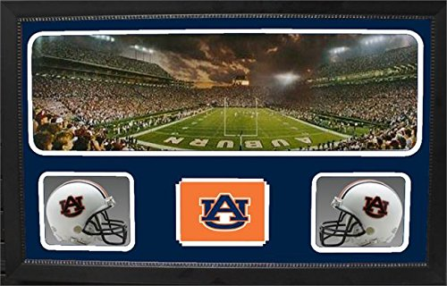 Encore Select 657-02 NCAA Auburn Tigers Custom Framed Sports Memorabilia with Two Mini Helmets Photograph and Name Plate by Encore