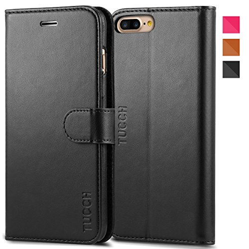 iPhone 7 Plus Case, iPhone 7 Plus Wallet Case, TUCCH Leather Wallet Phone Case [Card Slot] [Flip] [Wallet] [Stand] Carry-All Case for Apple iPhone 7 Plus Devices (5.5 Inch), Black