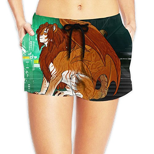 Human Face Lion With Wings Summer Womens Loose