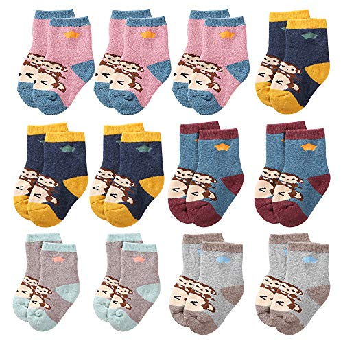 CHINEHIGH 12 Pairs Thick Warm Cartoon Infant Socks Toddler Baby Girl Boy Stripe Cotton Socks, Monkey, 1-2 Years ()