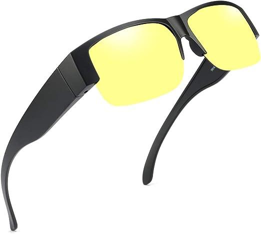 Infgreate Super-Light and Ultra-Thin Polarized LensesNight Vision Glasses Polarized Wrap Around Prescription Eyewe for Unisex Yellow