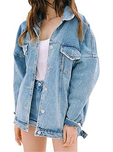 Jeans Veste Veste D Printemps Filles bleu Roses Longues Femmes Broderie Automne À Minetom Survêtement Manches Veste Denim Z0zOnqfx