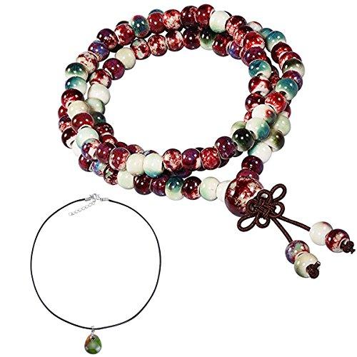 - CAT EYE JEWELS 108 Prayer Beads Bracelet Porcelain Buddhist Vintage Style Mala Beads Bracelet Necklace Mix Color