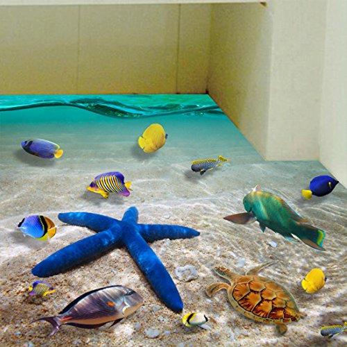 Blue Tile Clock (Wall Sticker ZTY66, 3D Beach Floor/Mural Sticker Removable Vinyl Art Room Decal (A))