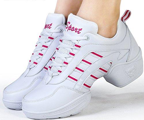 Damen Schnürschuh Laufschuhe Wanderschuhe aus VECJUNIA Weiß Sneaker Mesh Tanzschuhe 1aZnw