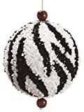 "Allstate 3"" Diva Safari Beaded Zebra Stripe Animal Print Christmas Ball Ornament (75mm)"