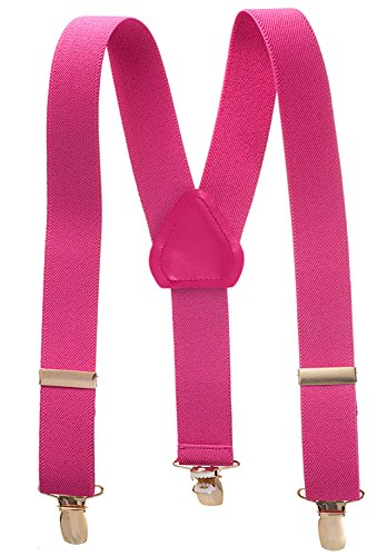 Suspenders for Kids - 1 Inch Suspender Perfect for Tuxedo - Fushia (30'') by Hold'Em
