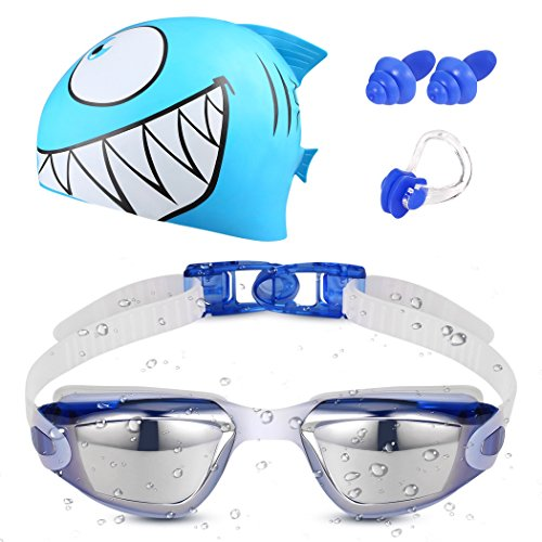 LOVINA Kids Swim Goggles Set With Swim Cap - Swim Goggles For Kids(Age 4-12) With Crystal Clear Vision Anti-Fog 400 UV Protection Soft Health Silicone Frame Cool Shark Swim Cap (Hat Cap Set)