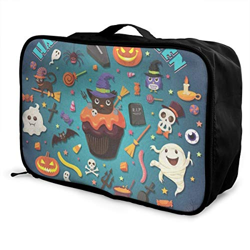 Travel Bags Vintage Halloween With Cupcake Portable Tote Inspiring Trolley Handle Luggage Bag