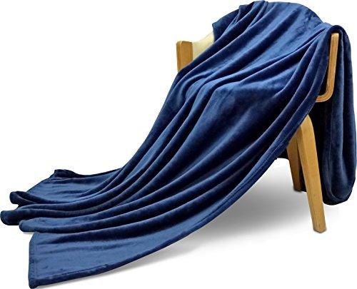 Utopia Bedding Flannel Fleece Blanket Navy Blue  - Lightweig