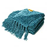 Decorative Chenille Thick Couch Throw Blanket with Fringe Cozy Solid Blanket 60 x 50 Inch, Teal