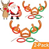 LLOP Christmas Antler Ring Toss Game 2-4 Players Inflatable Reindeer Antler Ring Toss Game for Christmas Party Photo Props Tools Christmas Headband, 2 Antlers, 8 Rings (2 Antlers 8 Rings)