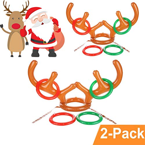 LLOP Christmas Antler Ring Toss Game 2-4 Players Inflatable Reindeer Antler Ring Toss Game for Christmas Party Photo Props Tools Christmas Headband, 2 Antlers, 8 Rings (2 Antlers 8 Rings)]()
