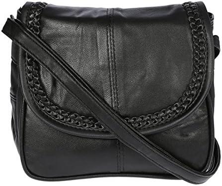 talla 18x16x4 cm color Negro Bolso de bandolera para mujer piel, tama/ño peque/ño