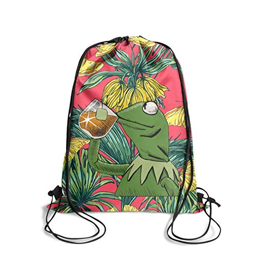 LKUIOJ Funny-Green-Frog-Sipping-Tea Custom Drawstring Backpack Tote Sack Travel -