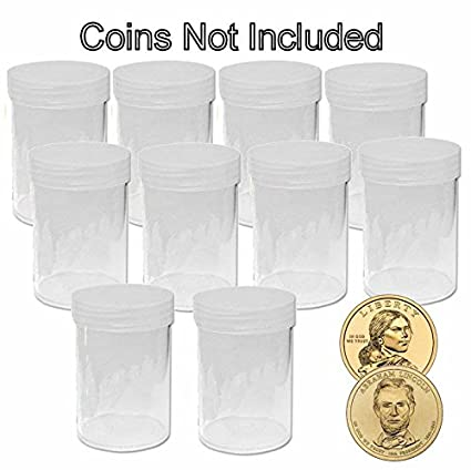 100 NEW BCW ROUND SMALL DOLLAR CLEAR PLASTIC COIN STORAGE TUBES W// SCREW ON CAPS