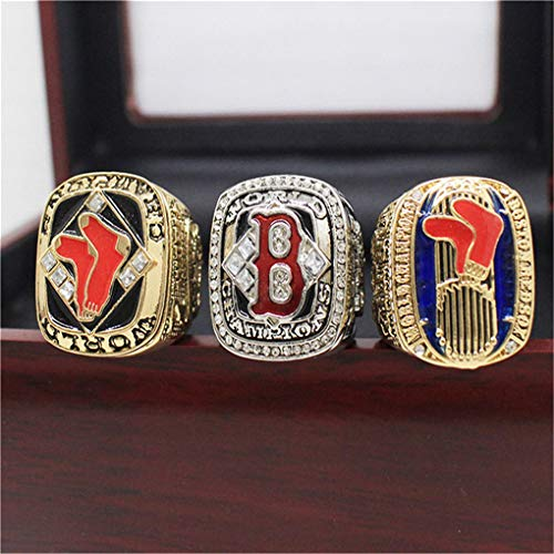 Sumoleo Mens World Professional Baseball League 2018 Year Boston Red Sox Championship Set Rings,Three with Box,Size 13