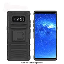 Galaxy Note 8 Case, Asstar Soft TPU Hard PC Shockproof Full Body Heavy Duty Rugged Protective Cover with Holster Belt Clip + Built-in Kickstand for Samsung Galaxy Note 8 2017 (Black)