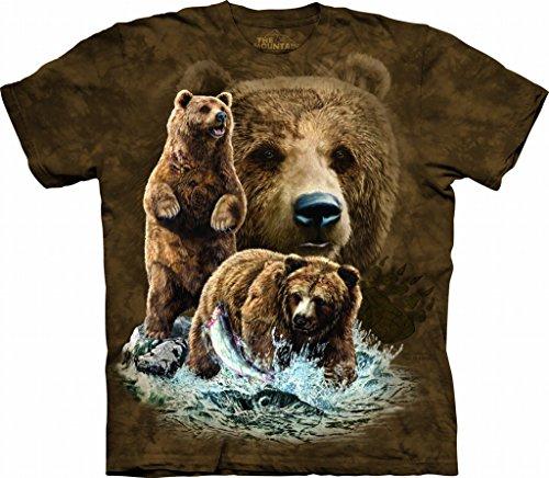 Bear Mens T-shirt - The Mountain Find 10 Brown Bears Adult T-Shirt, Brown, XL