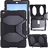 Kecko(TM)for ipad Air 2 Case,Defender Series Shockproof Dustproof Army Military Duty Armor Hybrid Impact Resistant Rugged Silicon Protective Built-in Screen Protector Case with Kickstand&camo Design for ipad Air 2/ipad 6th Generation (Black)