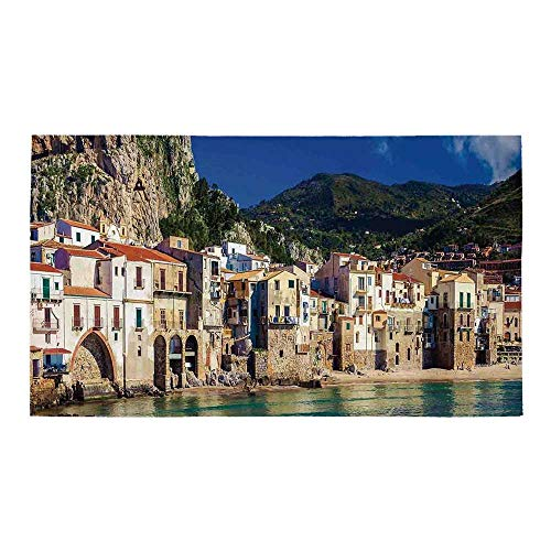 C COABALLA Wanderlust Decor Rectangular Bath Rug,Cozy Old Houses in The Port of Cefalu Sicily Mediterranean Seaside Mountain Seascape for Bathroom,28