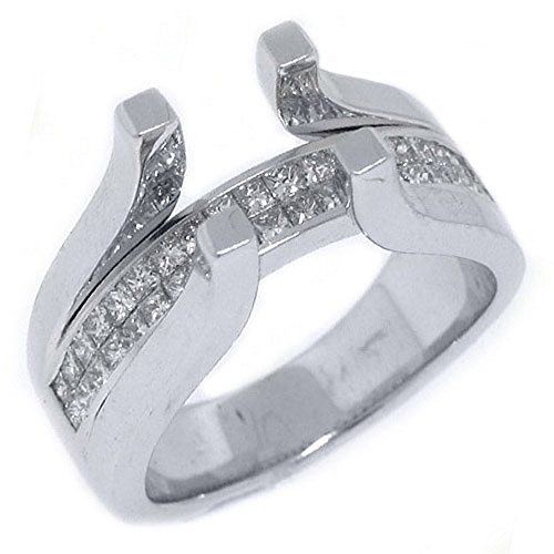 (18k White Gold Invisible Princess Diamond Ring Tension Semi Mount 1 Carat)