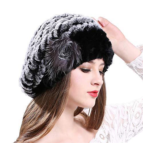 (CHAOSHUO Women Genuine Fur Knitted Beret Hat Winter-Rex Rabbit Beanies Warm(Grey, OneSize))