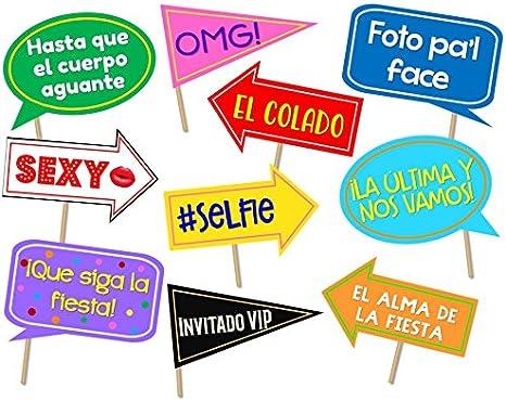 Letreros para fotos. Spanish photo booth props. Carteles para selfies. Props para fotos en español. Letreros para fiesta.